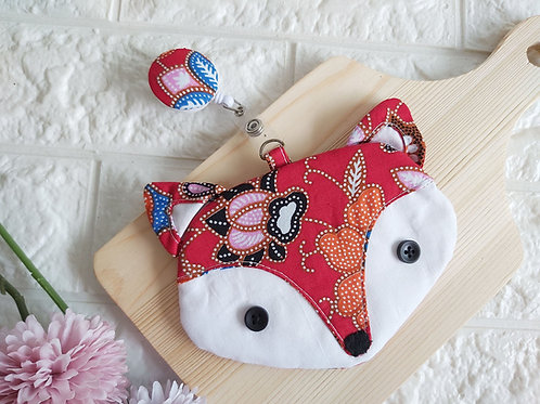 Handmade Fabric Fox Card Holder with Badge Reel - Red Batik Front View