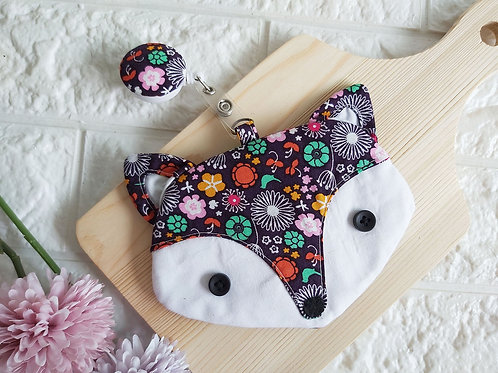 Handmade Fabric Fox Card Holder with Badge Reel - Fireworks Front View