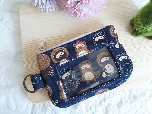 Handmade Fabric Zippered Cards & Coins Pouch - Tanuki Raccoon Front View