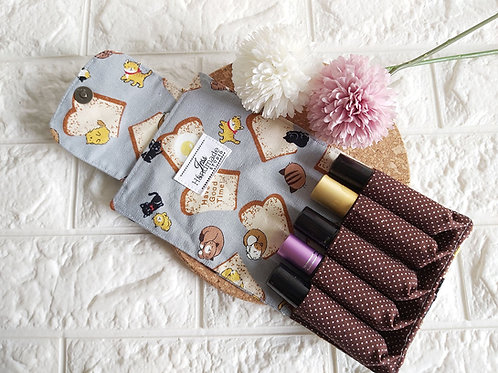 Handmade Fabric Essential Roller Oil Pouch (5 Bottles) : Kitty and Bread Interior