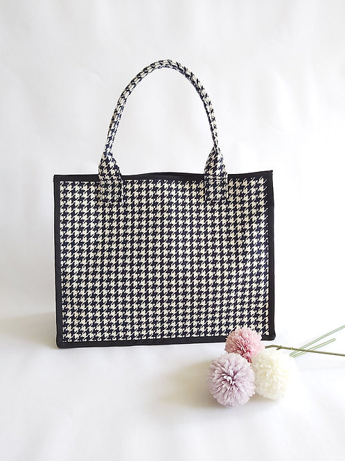 Handmade Fabric Oki Tote Bag : Houndstooth Front View