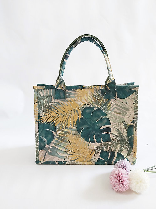 Handmade Fabric Oki Tote Bag : Tropical Ferns Front View