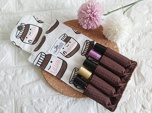 Handmade Essential Oil Pouch (5 Roller Bottles) - Nutella Interior View