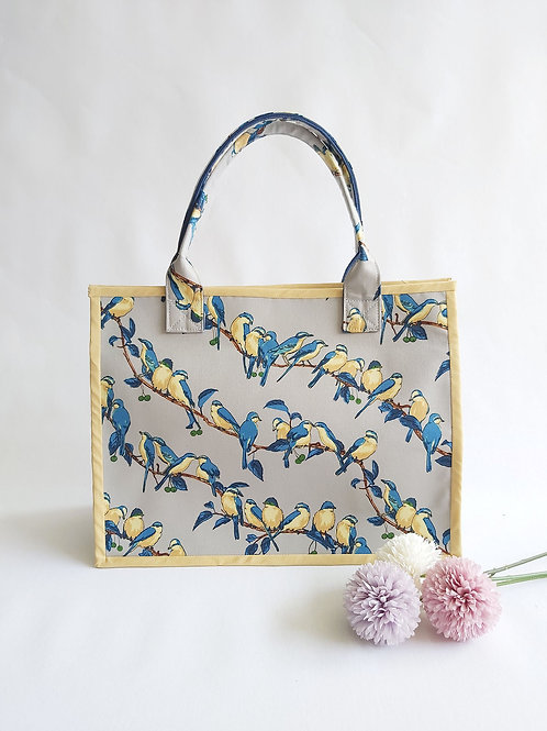 Handmade Fabric Oki Tote Bag : Birds on Branches Front View