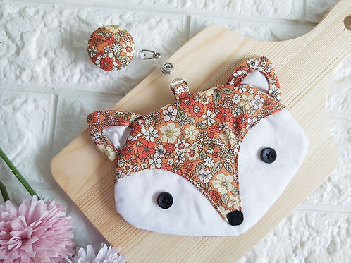 Handmade Fabric Fox Card Holder wtih Badge Reel - Orange Floral Front View