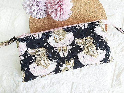 Handmade Fabric Wristlet Wallet Pouch : Ballet Bunnies