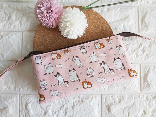 Handmade Fabric Wristlet Wallet Pouch : Pink Kitties Front