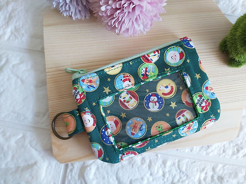 Handmade Fabric Cards & Coins Pouch - Christmas Bubbles Front View
