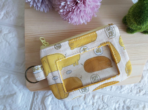 Handmade Fabric Zippered Cards & Coins Pouch - Golden Piglets Front View