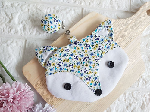 Handmade Fabric Fox Card Holder with Badge Reel - Blue Field Front View
