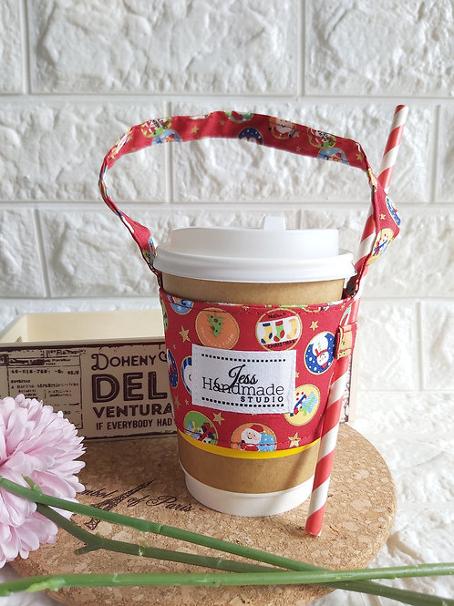 Handmade Fabric Cup Carrier - Christmas Bubbles (Red) Front View
