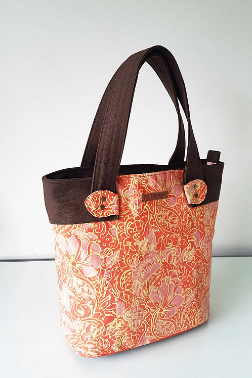 Handmade Handprinted Batik Fabric Marcie Tote Bag - Tangerine Showcase