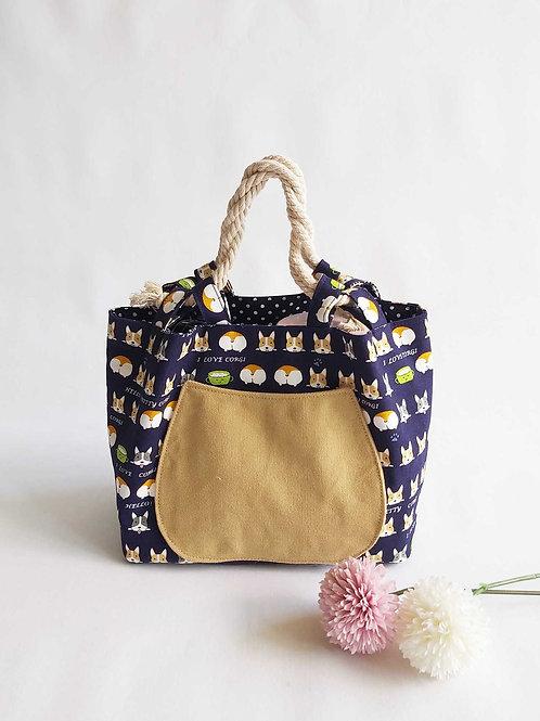 Handmade Fabric Mandy Lunch Bag : I Love Corgi