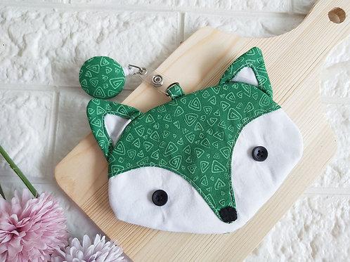 Handmade Fabric Fox Card Holder - Field Triangles