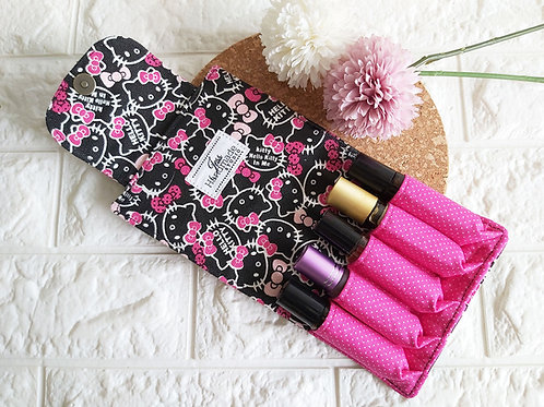 Handmade Fabric Essential Roller Oil Pouch (5 Bottles) : Kitty Interior