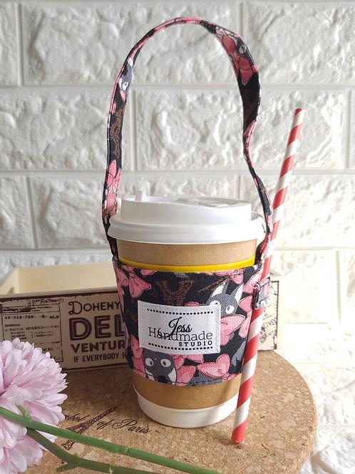 Handmade Fabric Cup Carrier - Black Kitten Front View