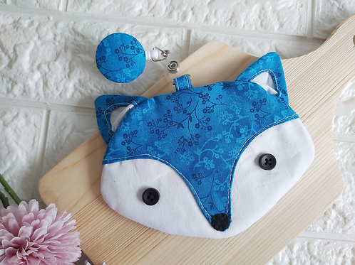 Handmade Fabric Fox Card Holder with Badge Reel - Blue Paisley Front View