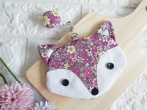 Handmade Fabric Fox Card Holder with Badge Reel - Purple Garden Front View