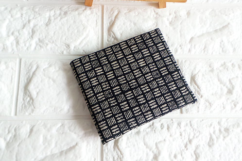 Handmade Fabric Bifold Wallet : Japanese Checkered Print Front View
