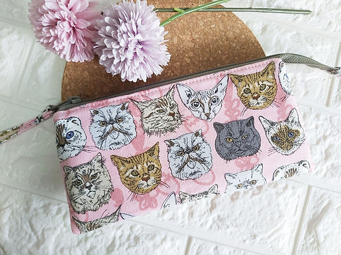 Handmade Fabric Wristlet Wallet Pouch - Cat Faces Front View