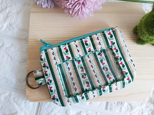 Handmade Fabric Zippered Cards & Coins Pouch - Christmas Stripes Front View