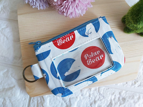 Handmade Fabric Zippered Cards & Coins Pouch - Polar Bears Front View