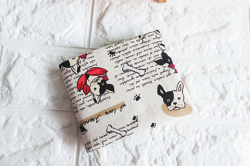 Handmade Fabric Bifold Wallet : French Bulldog Front View