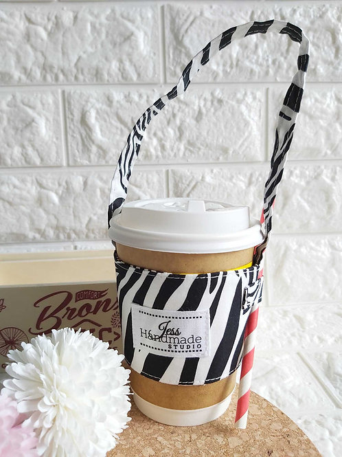 Handmade Fabric Cup Carrier : Zebra Front View