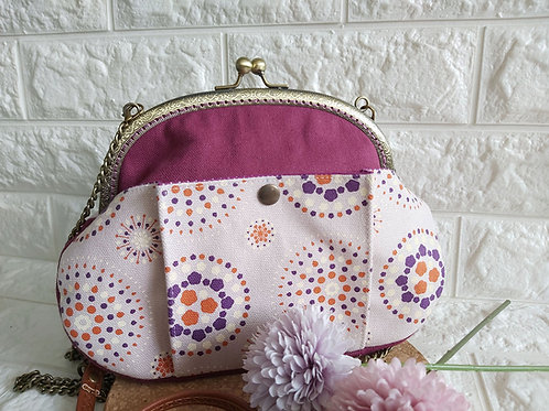 Handmade Fabric Kisslock Sling Bag : Purple Fantasy Front View