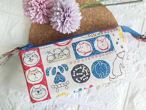 Handmade Fabric Wristlet Wallet Pouch : The Dog's Life