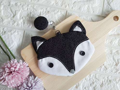 Handmade Fabric Fox Card Holder with Badge Reel - Black Beauty Front View