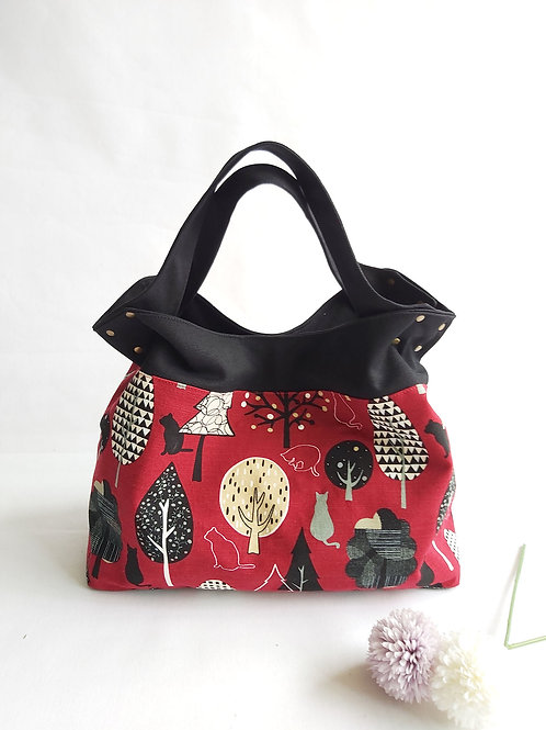 Handmade Mod Flaire Tote Bag - Tree Cats (Red)