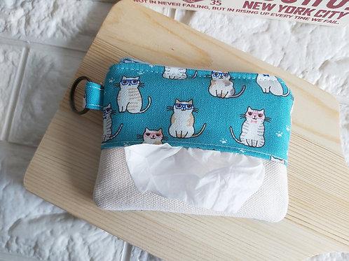 Tissue Holder cum Coin Pouch - Sunglass Kitties Tissue View