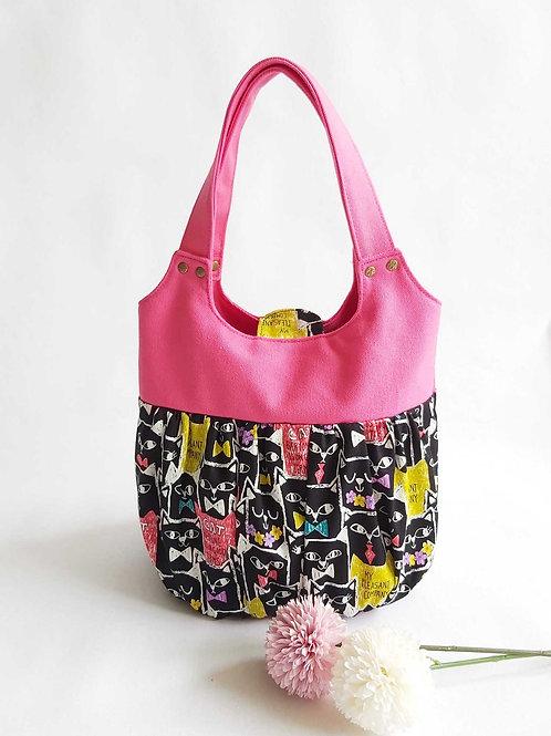 Handmade Fabric Ruffles Bag (Xiao Long Bao) : Prima Cats Front View
