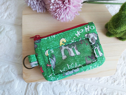 Handmade Fabric Zippered Cards & Coins Pouch - Christmas Dogs Front View