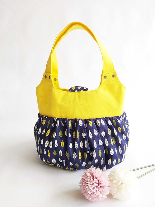 Handmade Fabric Ruffles Bag (小笼包) : Leaves Front View