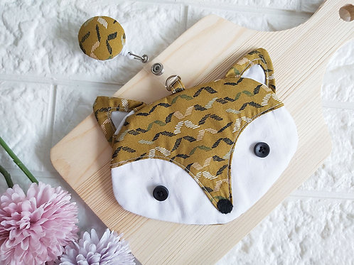 Handmade Fabric Fox Card Holder with Badge Reel - Waves Front View