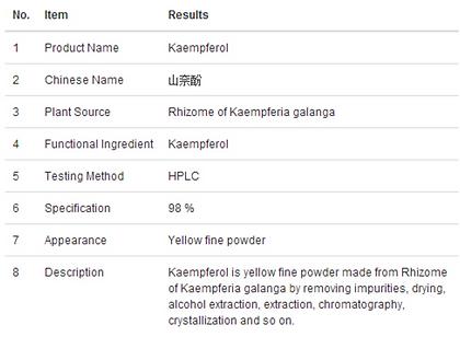 Kaempferol 98% HPLC info@clovercn.com