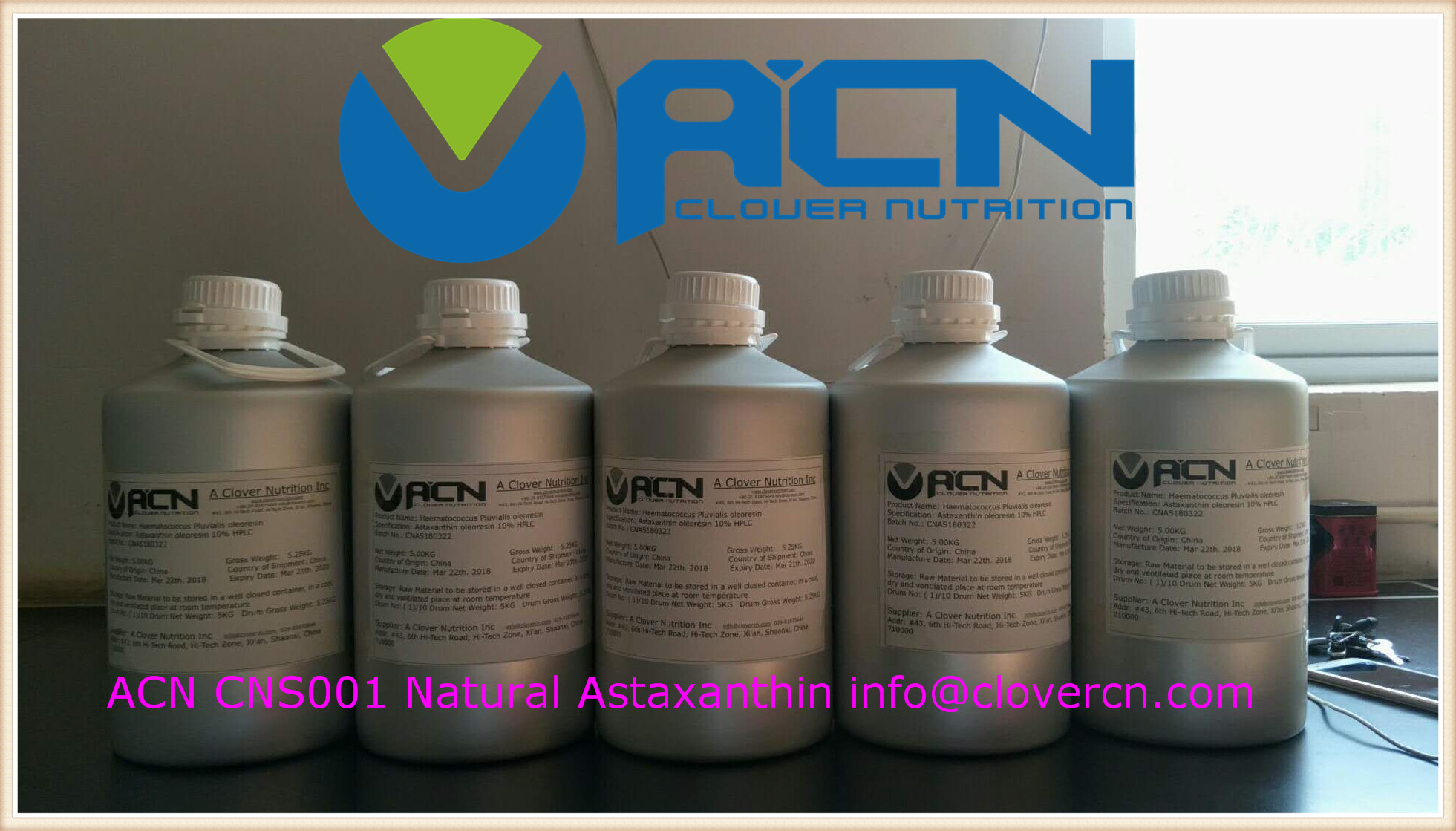 ACN CNS001 astaxanthin oil 10% info_clovercn.com