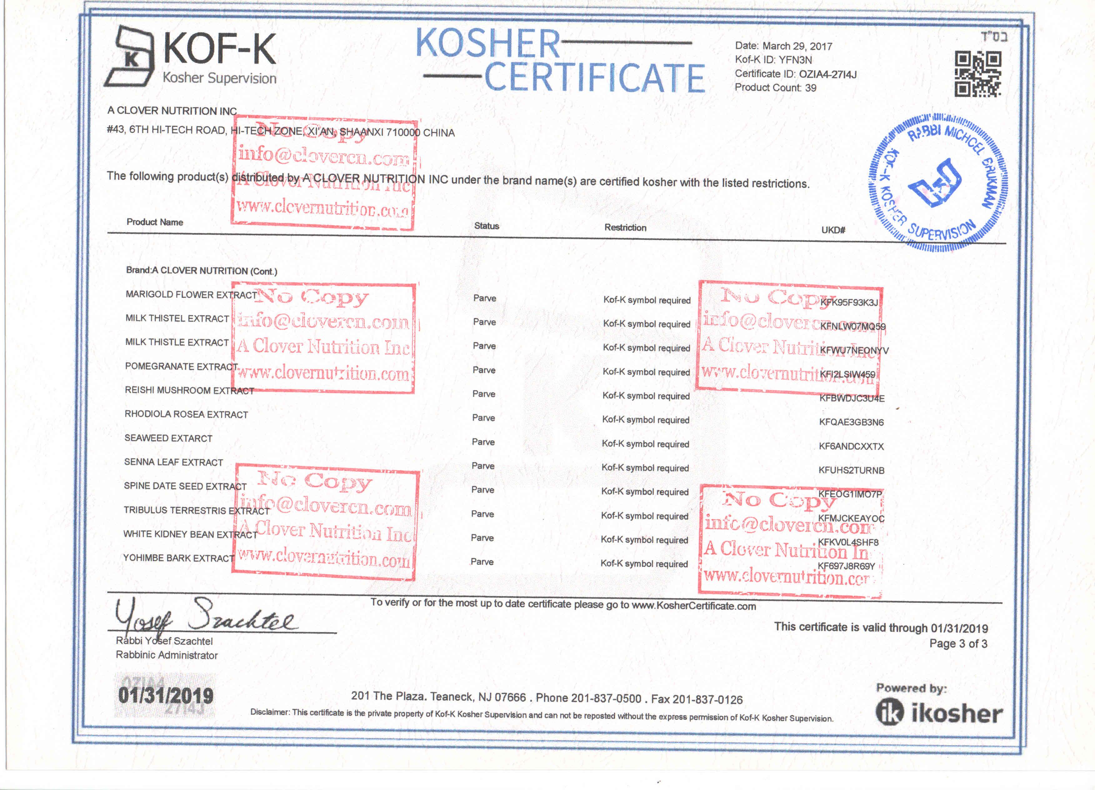 Kosher A Clover Nutrition Inc