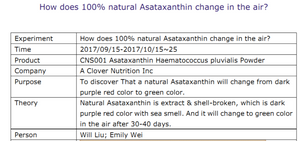 how does 100% natural Asataxanthin change in the air