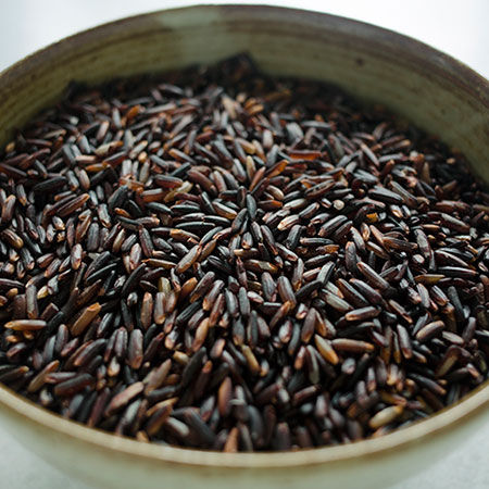 Thai long grain black rice. By Rebirth Rice. Available in the US.