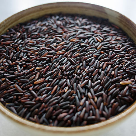 Thai long grain jasmine black rice aka 'rice berry'. By Rebirth Rice. Available in the US.