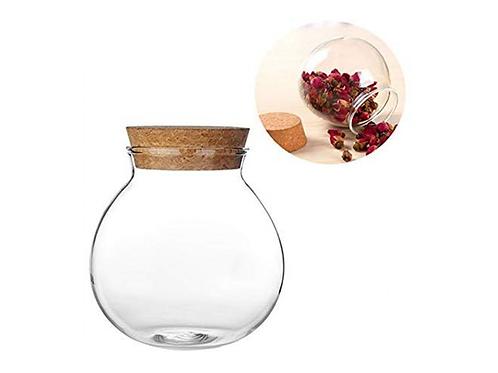 Glass Jar with Cork Lid for Tea-Leaf Storage