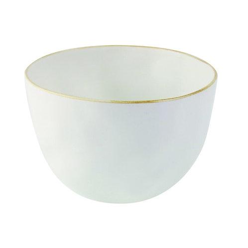 Tan Rim Stoneware Bowl - Medium