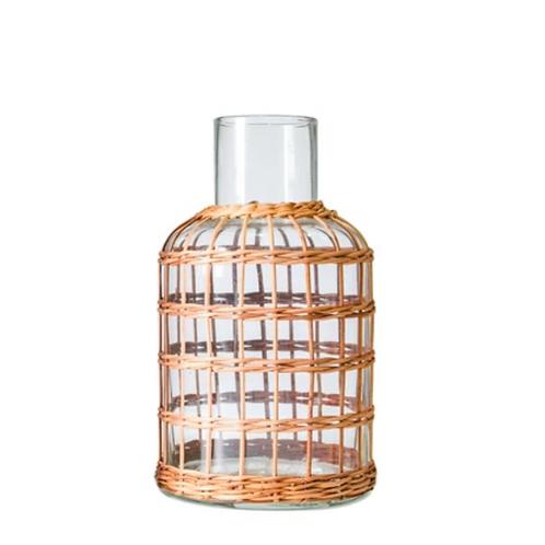 Rattan Cage Vase Carafe Small