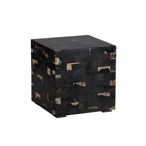 Tiled Petrified Wood Side Table - Midnight