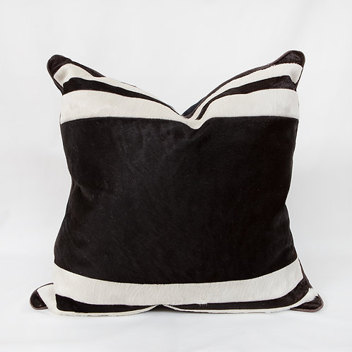 Black and White Hide Striped Pillow
