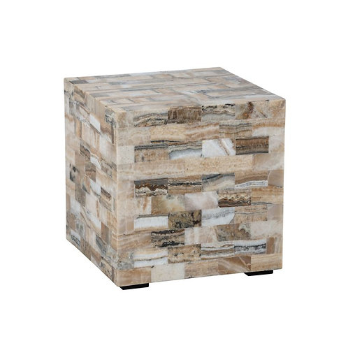 Tiled Petrified Wood Side Table - Blanca
