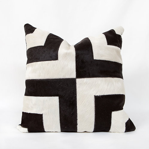 Black and White Striped Hide Pillow